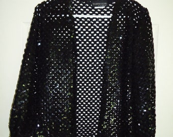 Vintage 1980's Crochet Sequined Dressy Jacket w/ Matching Drawstring Evening Bag
