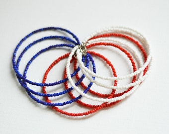 SALE! Bead bracelet, Red and White and Blue