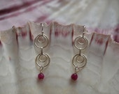 Double Sterling Silver Rings Wire Wrapped Faceted Ruby on Sterling Silver Ear Wires