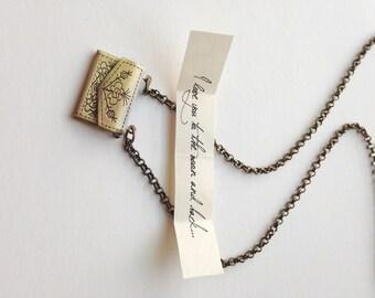 Love Note Necklace - Miniature Brass Envelope Locket - Secret message pendant