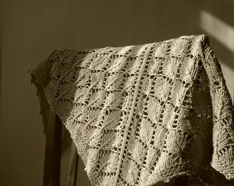 Shawl-scarf,  boho style. Cotton shawl. Linen shawl. Hand knit shawl.