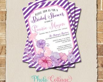 Purple & Pink Bridal Shower Invitation, Lavender Bridal Brunch Invitation, Invitations, Floral Bridal Shower Invites, BS166