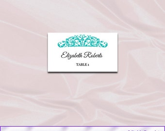 Turquoise Wedding Place Cards Template, Diy Printable Table Tent Seating Name Card, Editable Text, Instant Download Pdf Word P16