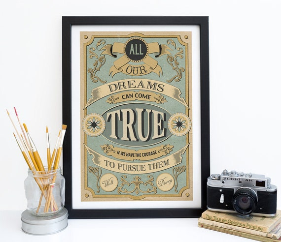 Walt Disney Quote Print Poster - Dreams Can Come True Courage To Pursue - Motivational Wall Decor - Housewarming Gift - Mint & Cream