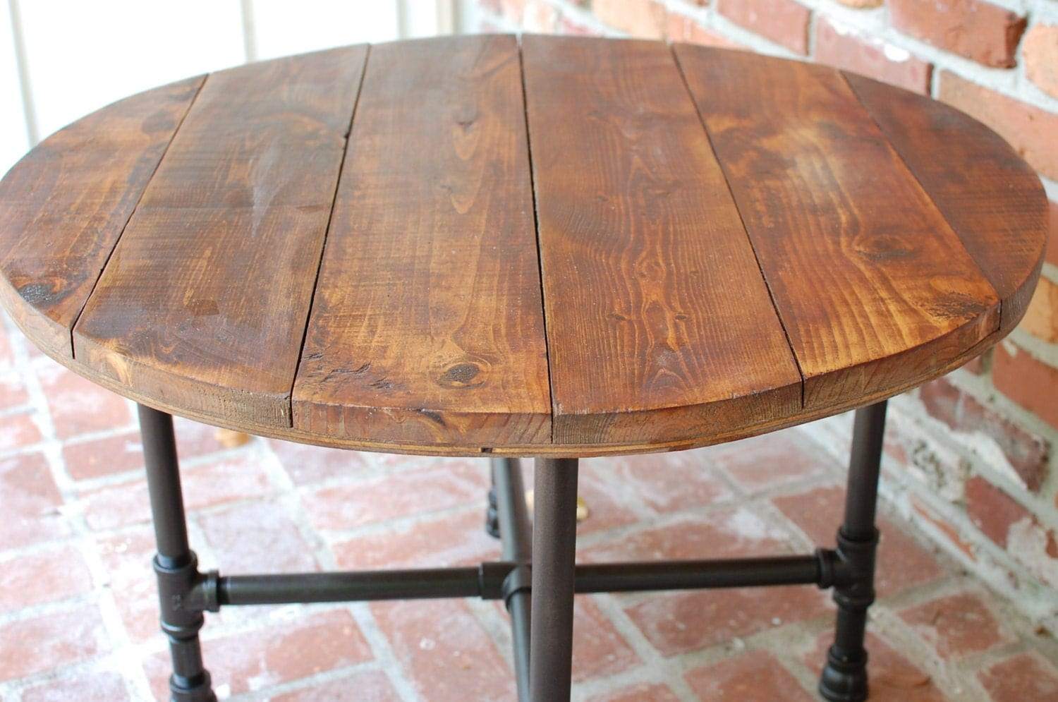 Round coffee table industrial wood table 30 by for Rustic pipe table