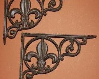 """8)pcs,  Cast Iron Fleur De Lis Shelf Brackets, 9"""" shelf brackets, cast iron shelf brackets, Fleur De Lis Home Decor, Fonte, B-3"""