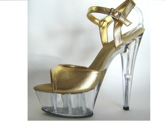 VIP 6 inch Handmade Gold / Clear Ankle Strap Stiletto High Heel Platform Woman Stripper Shoes