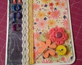"""Colorful, Contemporary Shabby-Chic """"Hope"""" Card with Emily Dickinson Quote, Lace, Buttons, Fiber, Ribbon, and Alphas, Distressed and Stamped"""