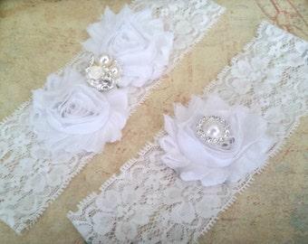 White Bridal Garter Set, White Stretch Lace Garter,  Keepsake Garter, Toss Garter, White Wedding Garter Set, Bridal Garter