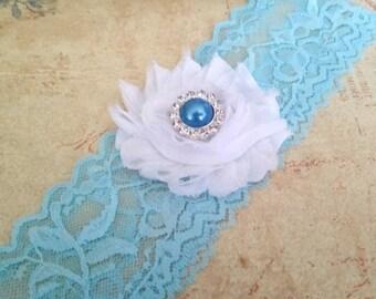 Blue Bridal Garter, Something Blue Stretch Lace Garter, Keepsake Garter,  Blue Wedding Garter,  Bridal Garter