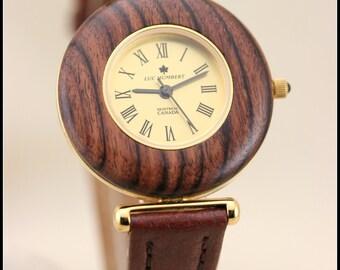 Wood watch, Wood watch women, Wooden watch, Brown wood watch women, Womens wooden watch, Bracelet brown leather, Swiss quartz, Wood gifts