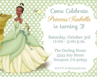 Princess & the Frog Invitation, Tiana, Disney Princess, Kid's Birthday Party Invite, Birthday Invitation