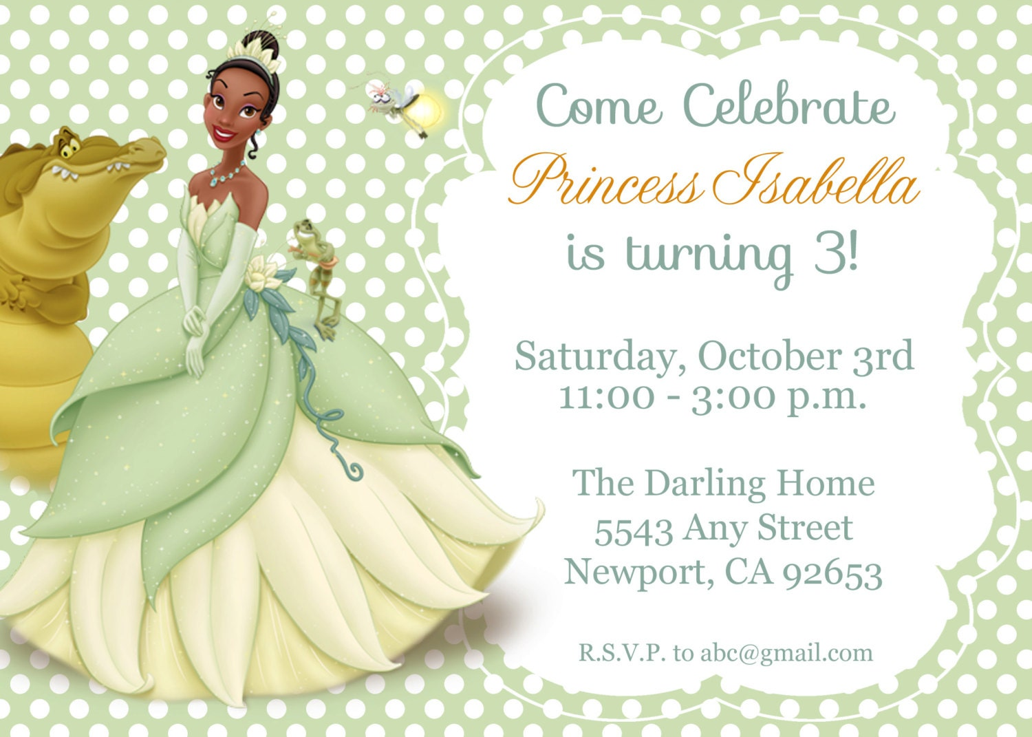 Princess the Frog Invitation Tiana Disney Princess – Princess Tiana Party Invitations