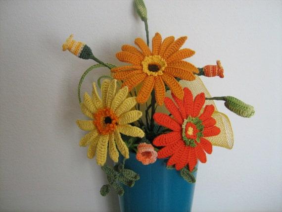 Gehäkelte Blumen Brautstrauß gerberi