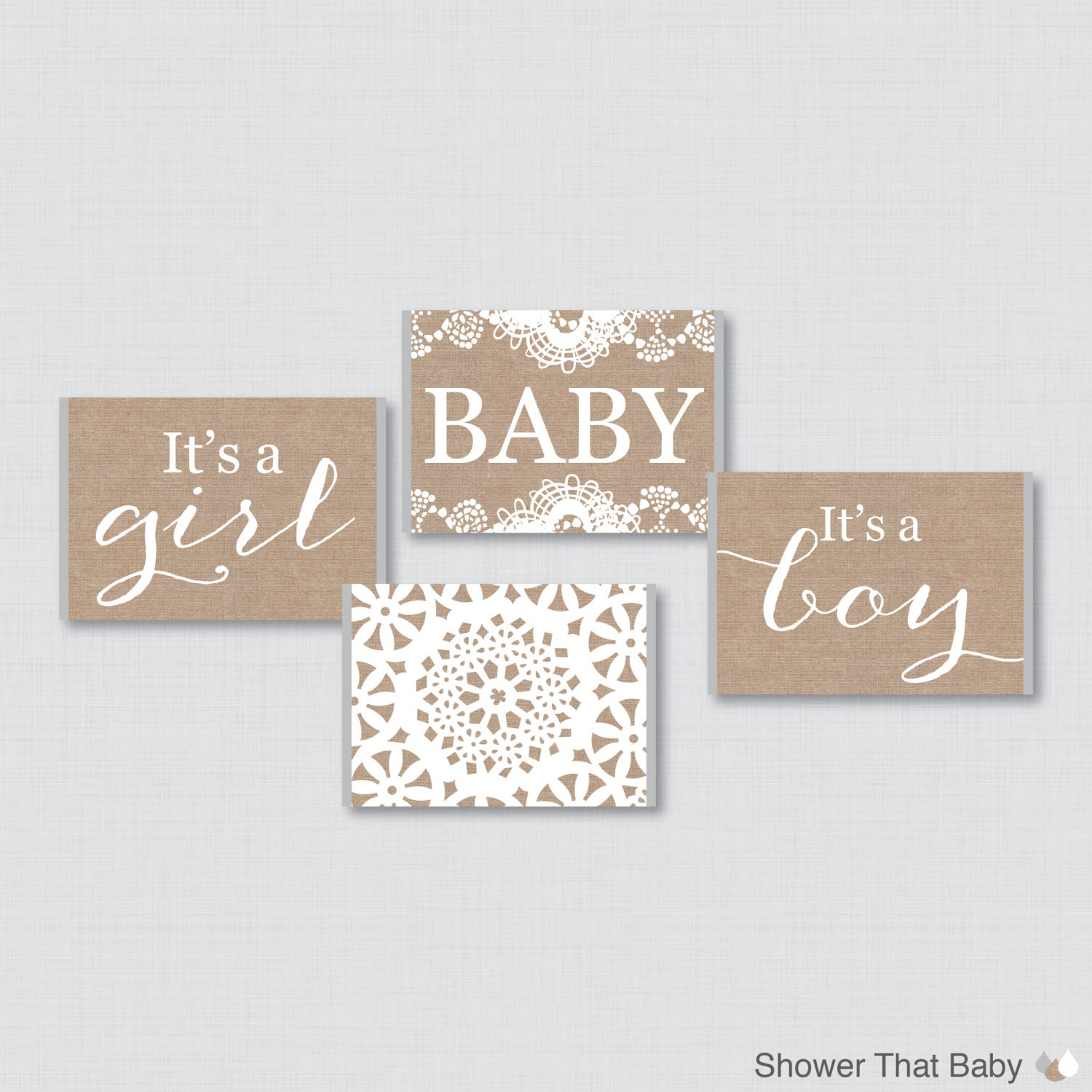 Burlap and Lace Baby Shower Mini Candy Bar Wrapper for Baby