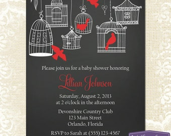 Red Baby Shower Invitation - Hanging Bird Cages Baby Shower Invite - Girl Baby Shower Invite - Chalkboard Baby Shower - 1160 PRINTABLE