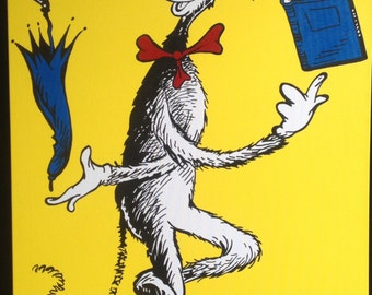 "Juggling Cat in the Hat inspired by Dr. Seuss: 24"" x 48"""