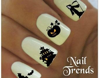 Halloween Nail Decal 20  Vinyl Adhesive Decals Pumpkin Nail Tattoos  Nail Art