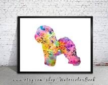 Bichon Frise Watercolor Print, Home Decor, dog watercolor, watercolor painting, Bichon Frise art, animal watercolor, Bichon Friseart