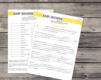 Baby Mad Libs Baby Shower Game Printable 8.5x11 Game Sheet Yellow Gender Neutral- Lib 102