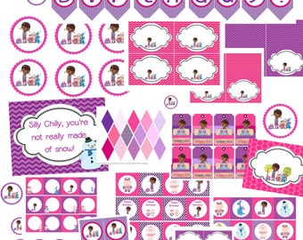 Doc Mcstuffins Party Package, Instant download, digital download, Cupcake toppers, Water bottle wrappers, banners, gift tags, buffet cards