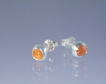 sterling and fine silver orange carnelian cabochon posts