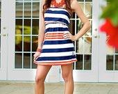 Ego Girl Outfitter Women Strapless Stripe Tube Casual Summer Dress (Orange, White, Navy Blue)