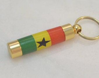 LDS Consecrated Oil Vial with the Ghana Flag Key Chain