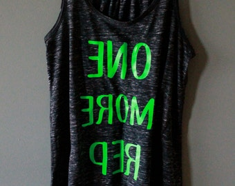 ONE MORE REP Mirrored Crossfit Tank - Marble Black - Neon Green Text
