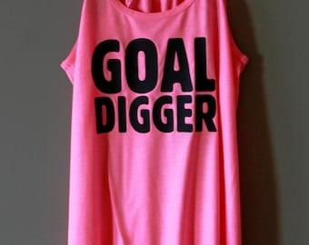 GOAL DIGGER Tank - Neon Pink - Black Text