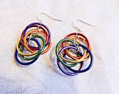 0003 - Dangle earring, a rainbow of colored aluminum hoop, Silver plated ear wire and jumpring, Red, orange, yellow, green, blue,purple hoop