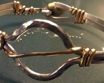 Sterling Silver Bracelet with Beautiful Rounded Center and Gold Accents (Style H)
