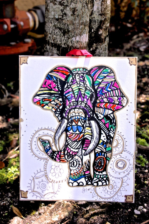 Elephant wall decor colorful tribal elephant by littlegypsyfinds Colorful elephant home decor