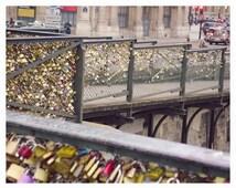 Paris Photography, Paris Print, Love Locks, Fall Photography, Pont Des Arts, Wall Decor, Love Lock Paris, Love Lock Bridge, Street Art Paris