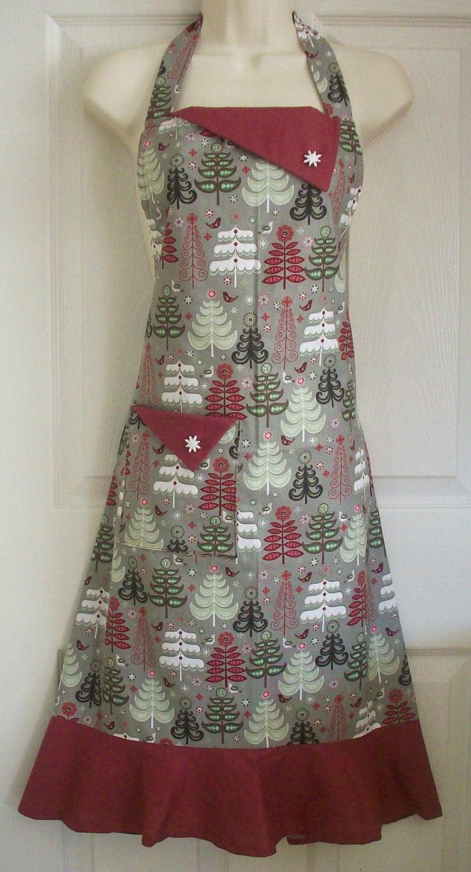 gray christmas apron women 39 s full apron retro. Black Bedroom Furniture Sets. Home Design Ideas
