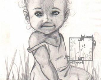 Sunshine: A portrait of a child - Original Drawing by Jaime Munt - ART PRINT