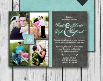 ANY COLOR, Digital Wedding Invitation, Picture Collage, Printed - Wedding Invitation / Bridal Shower / Baby Shower / Birthday / Save Date