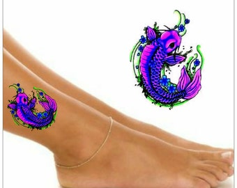 Temporary Tattoo 1 Koi Fish Ankle Tattoos Wrist Tattoo Waterproof