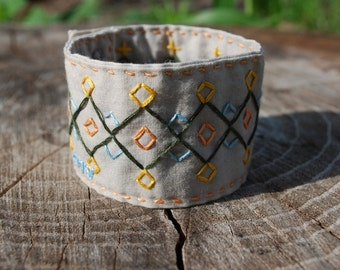 Hand Embroidered Cuff Bracelet, Right Angles Pattern