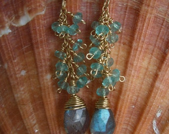 Wire Wrapped Labradorite and Apatite Earrings