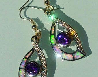 Purple Mysterie Fire opal, amethyst, CZ, and sterling silver earrings, 2""