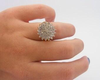 1.50 Carat Total Weight Diamond Cluster Ring. 14K Yellow Gold