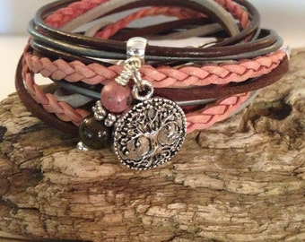 Boho Leather Wrap Bracelet, Leather Bracelet, Charm Bracelet, Personalized, CUSTOM, Zen, 3X Leather Suede, Brown, Pink,