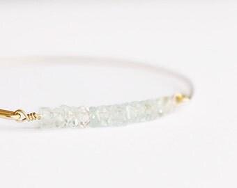 Aquamarine Bangle - 14k Gold Bangle - Bead Bar Bangle - Gold Bracelet - Beaded Bracelet - Mint and Gold - Bangle Set - Mint Bridesmaids Teal