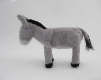 Nativity set, donkey, needle felted wool animal, Waldorf inspired miniatures