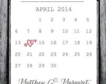 Wedding Invite, Save the Date, Printable Save the Date Calendar Card