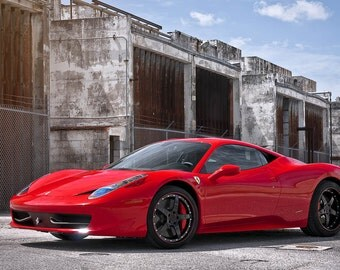 Ferrari 458 Italia Left Front Red on 360 Forged wheels HD Poster print