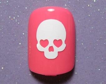 Skull vinyl nail decals- halloween decals