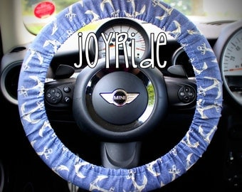 Steering Wheel Cover Anchors Away in Blue and Cream