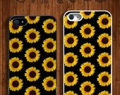 Sunflower Black Floral Apple iPhone 5 5s & 4 4s Durable Hard Case - In Multiple Colours - Hipster Indie Grunge Vintage Tropical Tumblr